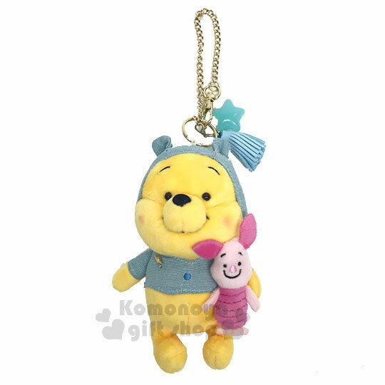 〔小禮堂〕迪士尼小熊維尼絨毛娃娃吊飾《黃.小豬》掛飾.鑰匙圈