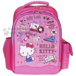 〔小禮堂〕Hello Kitty 護脊學童書包《粉.多圖.滿版》減壓.輕量.後背包