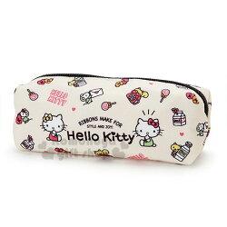 〔小禮堂〕Hello Kitty 尼龍拉鍊筆袋《米黃.姊妹.牛奶.滿版》收納袋.化妝包.鉛筆盒