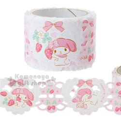 〔小禮堂〕美樂蒂 蕾絲寬版紙膠帶《粉黃.漸層.草莓》30mmx5m.裝飾.包裝禮物