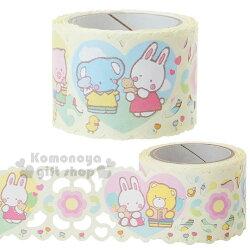 〔小禮堂〕凱莉兔 蕾絲寬版紙膠帶《粉黃.花園》30mmx5m.裝飾.包裝禮物