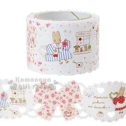 〔小禮堂〕兔媽媽 蕾絲寬版紙膠帶《粉.花朵》30mmx5m.裝飾.包裝禮物