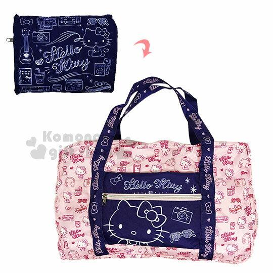 〔小禮堂〕Hello Kitty 折疊尼龍手提旅行袋《深藍.素描.側坐》行李袋.收納袋 0