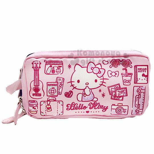 〔小禮堂〕Hello Kitty 尼龍雙層拉鍊化妝包《粉藍.側坐.多圖》收納包.萬用包 0