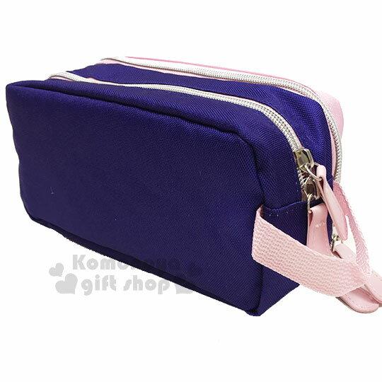 〔小禮堂〕Hello Kitty 尼龍雙層拉鍊化妝包《粉藍.側坐.多圖》收納包.萬用包 1