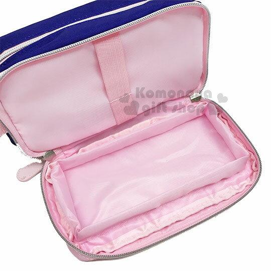 〔小禮堂〕Hello Kitty 尼龍雙層拉鍊化妝包《粉藍.側坐.多圖》收納包.萬用包 2