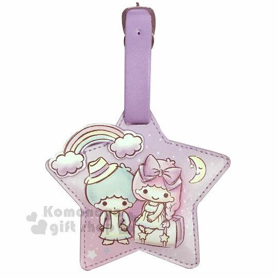 〔小禮堂〕雙子星 造型皮質行李吊牌《紫.星型.坐姿》掛牌.名牌 0