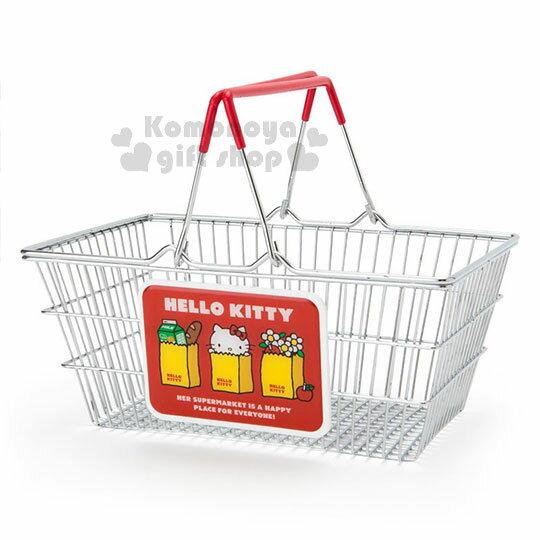 〔小禮堂〕HelloKitty鐵製提籃《銀.紅》購物籃.收納籃.鐵籃.美式超市系列