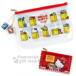 〔小禮堂〕Hello Kitty 扁平防水收納袋組《2入.紅白》化妝包.筆袋.收納包.美式超市系列