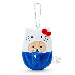 〔小禮堂〕Hello Kitty 睡袋造型絨毛玩偶吊飾《藍白.小熊》掛飾.鑰匙圈