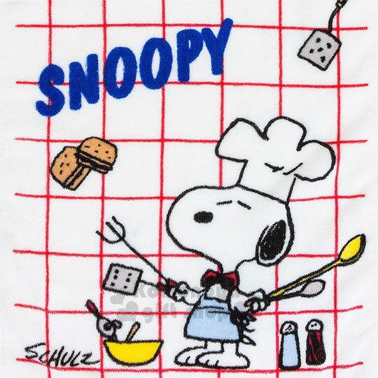 〔小禮堂〕史努比 棉質長毛巾《紅白.格紋.廚師》34x76cm.50週年復刻系列 1