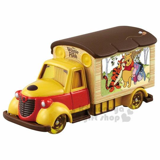 〔小禮堂〕迪士尼小熊維尼TOMICA小汽車《黃.電影宣傳車》模型.玩具.公仔