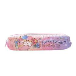 〔小禮堂〕雙子星 潛水布拉鍊筆袋《粉紫.牽手.雲》收納袋.化妝包.鉛筆盒