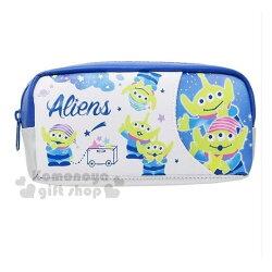 〔小禮堂﹞迪士尼 三眼怪 皮質拉鍊筆袋《藍.玩具車.星星》鉛筆盒.化妝包.收納包