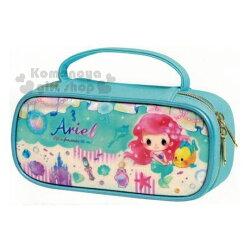 〔小禮堂〕迪士尼 小美人魚 皮質掀蓋式拉鍊筆袋《藍綠.Q版》鉛筆盒.收納包.化妝包