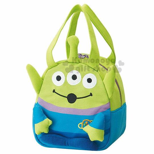 〔小禮堂〕迪士尼玩具總動員三眼怪迷你造型棉質拉鍊手提袋《綠.全身》手提包