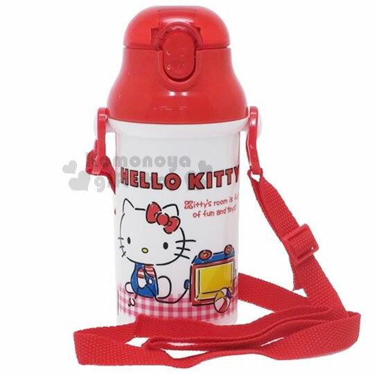 〔小禮堂〕HelloKitty日製彈跳吸管水壺《紅白.格子.熊》400ml.附背繩