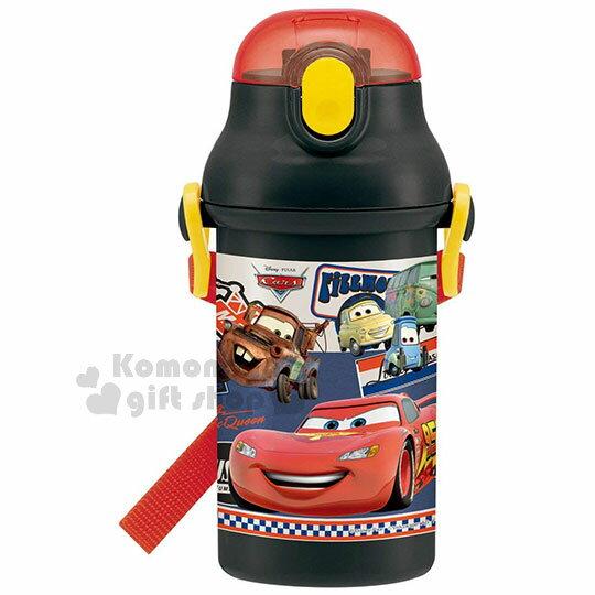 〔小禮堂〕迪士尼Cars閃電麥坤日製彈跳吸管水壺《黑紅.95》400ml.附背繩