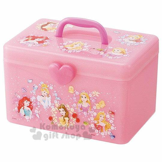 〔小禮堂〕迪士尼公主塑膠手提收納箱《粉.花朵.亮粉》工具箱.置物盒.飾品盒