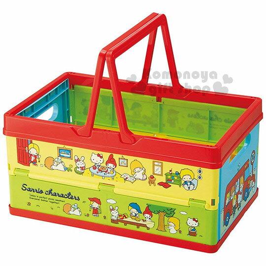 〔小禮堂〕Sanrio大集合塑膠折疊收納籃《紅黃.巴士.野餐》置物籃.提籃