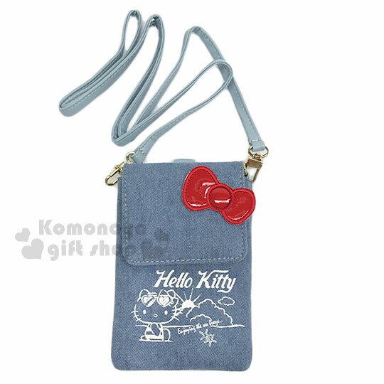 〔小禮堂〕Hello Kitty 牛仔布側背票卡手機包《淺藍.夏日海灘》斜背包.精美盒裝 0