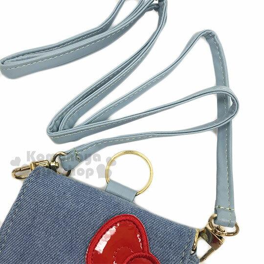 〔小禮堂〕Hello Kitty 牛仔布側背票卡手機包《淺藍.夏日海灘》斜背包.精美盒裝 1