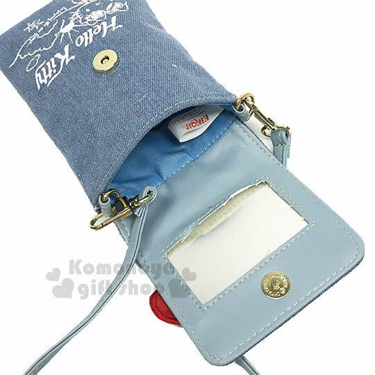 〔小禮堂〕Hello Kitty 牛仔布側背票卡手機包《淺藍.夏日海灘》斜背包.精美盒裝 2