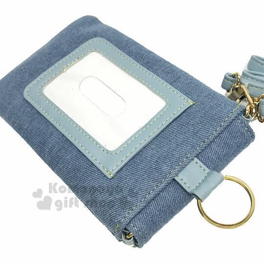 〔小禮堂〕Hello Kitty 牛仔布側背票卡手機包《淺藍.夏日海灘》斜背包.精美盒裝 3