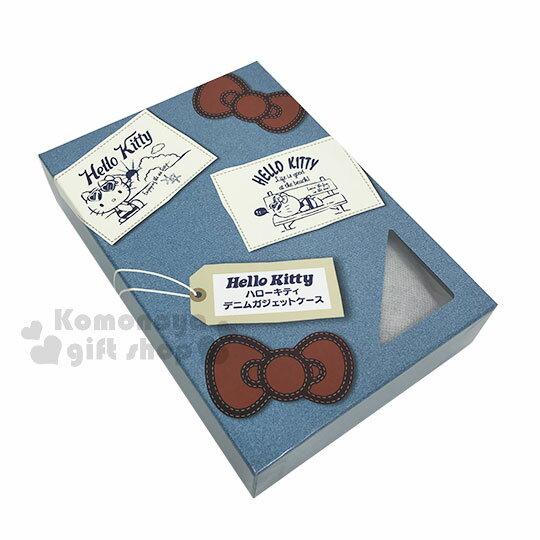 〔小禮堂〕Hello Kitty 牛仔布側背票卡手機包《淺藍.夏日海灘》斜背包.精美盒裝 4