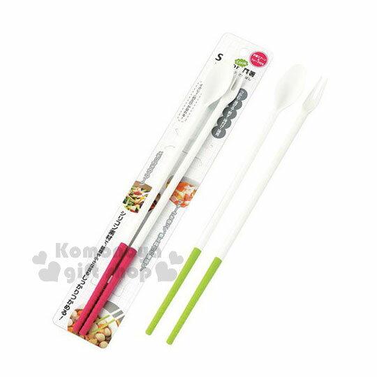 〔小禮堂〕Silicon日製多功能料理筷《2款隨機.粉綠》30cm.湯叉