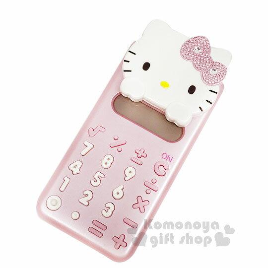 〔小禮堂〕Hello Kitty 攜帶型造型滑蓋計算機《S.粉.大臉.水鑽》8位元 1