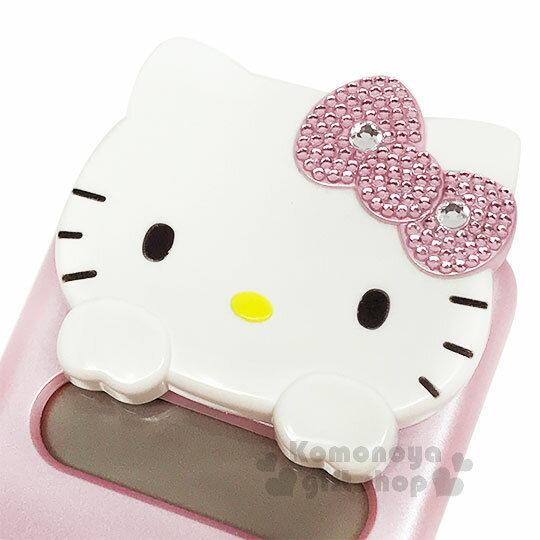 〔小禮堂〕Hello Kitty 攜帶型造型滑蓋計算機《S.粉.大臉.水鑽》8位元 2