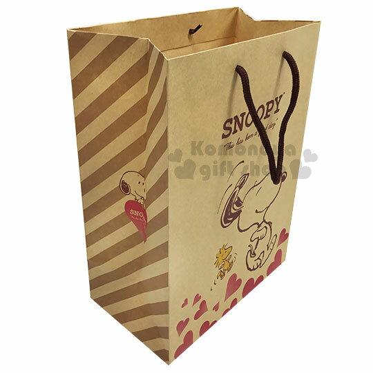 〔小禮堂〕史努比 直式手提牛皮紙袋~M.棕.走路.愛心~包裝袋.送禮紙袋