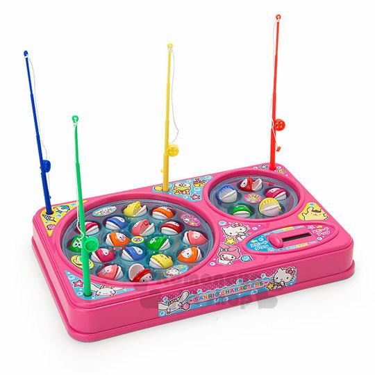 〔小禮堂〕Sanrio大集合 釣魚玩具機《粉.雙魚池》盒裝.多人玩具 0