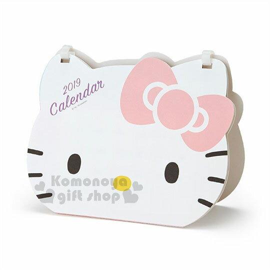 〔小禮堂〕HelloKitty2019造型桌曆《大臉.粉蝴蝶結》月曆.日曆.行事曆