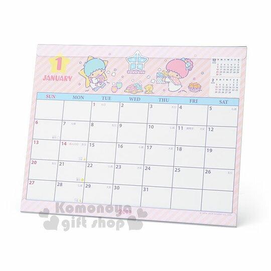 〔小禮堂〕雙子星2019透明架式桌曆《粉紫.斜紋》月曆.日曆.行事曆