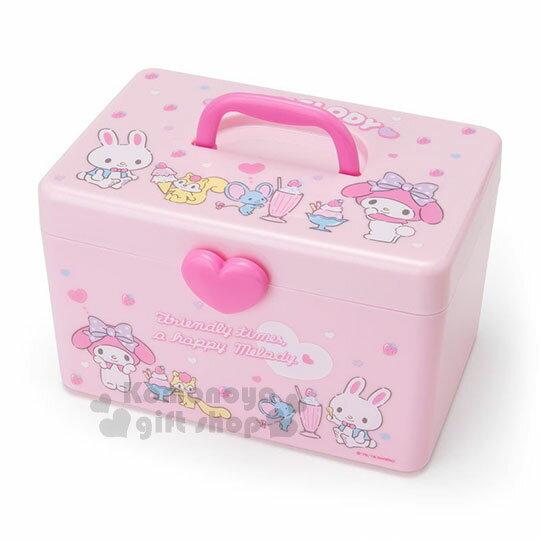 〔小禮堂〕美樂蒂 塑膠手提收納箱《粉.冰沙.愛心》工具箱.置物箱.飾品盒