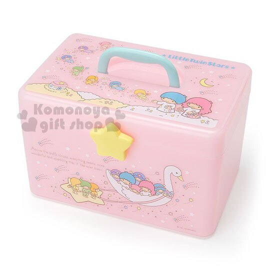 〔小禮堂〕雙子星 塑膠手提收納箱《粉.騎天鵝.星星》工具箱.置物箱.飾品盒