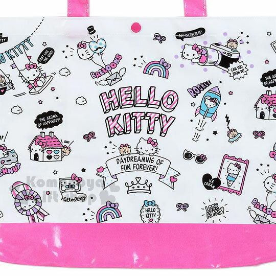 〔小禮堂〕Hello Kitty 防水橫式尼龍手提袋《粉白.文字.多動作》補習袋.側背袋 1
