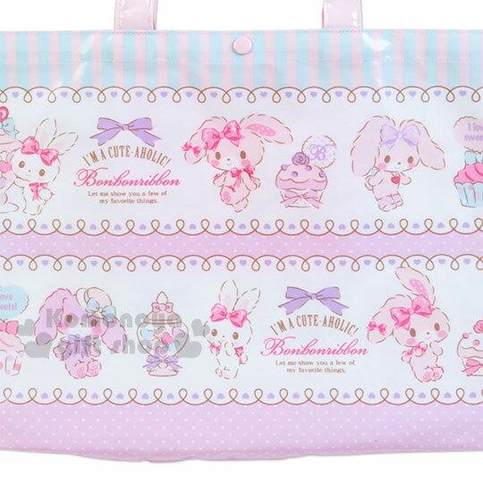 〔小禮堂〕蹦蹦兔 防水橫式尼龍手提袋《粉白.蕾絲.條紋》補習袋.側背袋 1