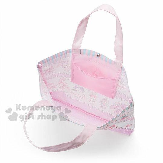 〔小禮堂〕蹦蹦兔 防水橫式尼龍手提袋《粉白.蕾絲.條紋》補習袋.側背袋 2