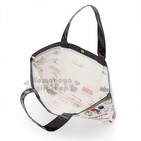〔小禮堂〕史努比 防水橫式尼龍手提袋《米黑.文字.滿版》補習袋.側背袋 2