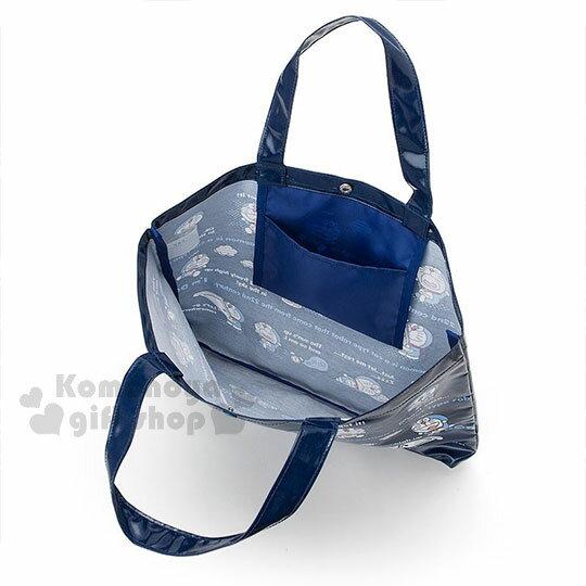 〔小禮堂〕哆啦A夢 防水橫式尼龍手提袋《深藍.文字.多動作》補習袋.側背袋 2