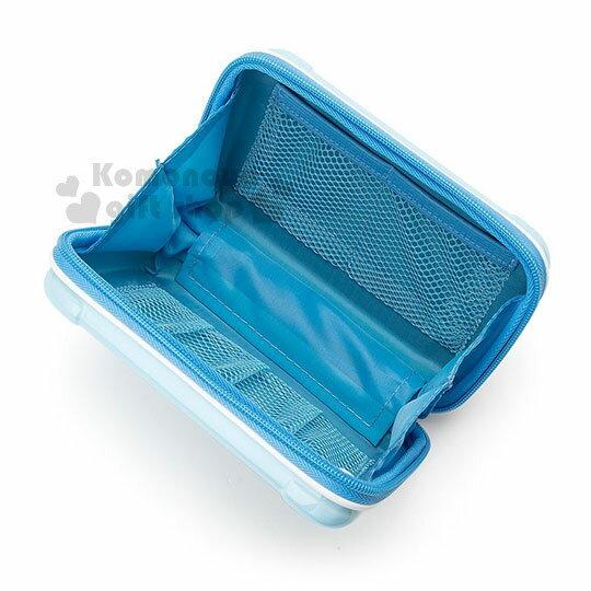 〔小禮堂〕大耳狗 行李箱造型硬殼化妝包《藍》附腕繩.收納包.萬用包 2