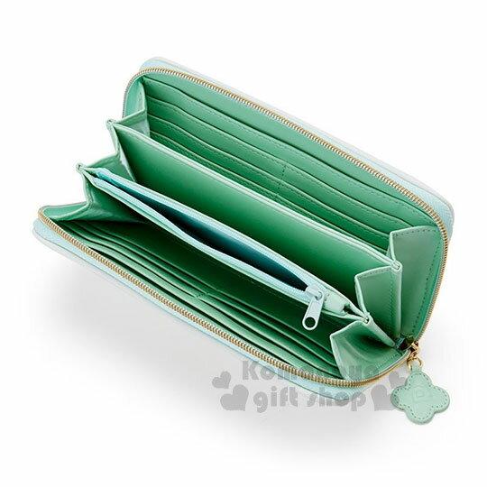 〔小禮堂〕帕恰狗 皮質拉鍊長夾《白綠》皮夾.錢包.調皮小蝴蝶系列 2