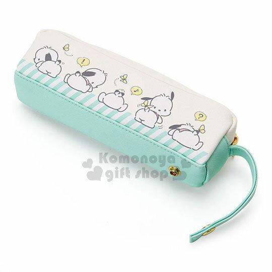 〔小禮堂〕帕恰狗 皮質拉鍊筆袋《白綠》收納包.化妝包.調皮小蝴蝶系列 1