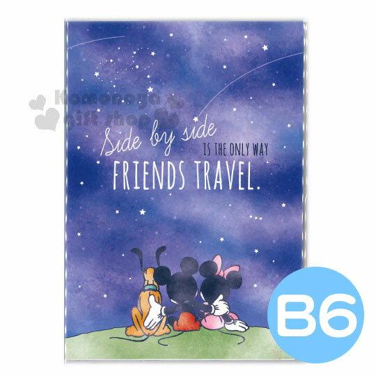 〔小禮堂〕迪士尼 米奇米妮 2019 日製年曆手帳本《B6.深藍.背影.搭肩》行事曆.記事本 0