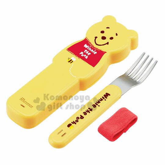 【領券折$30】小禮堂 迪士尼 小熊維尼 不鏽鋼叉子附造型盒《黃.手繪風》環保餐具