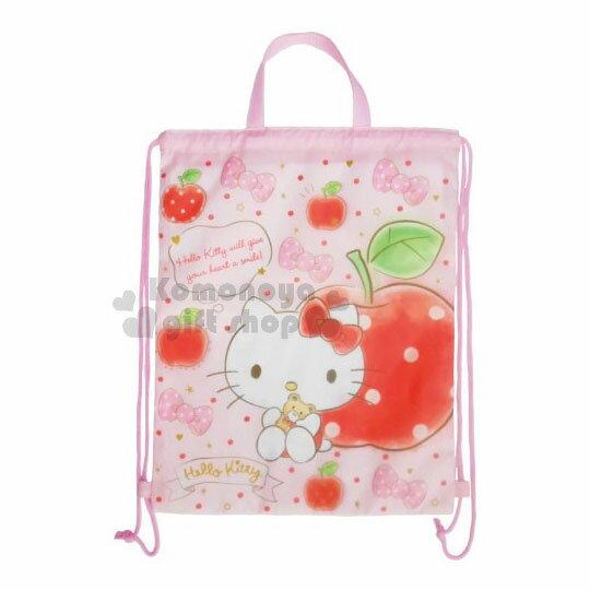 〔小禮堂﹞Hello Kitty 尼龍束口後背包《粉.蘋果.蝴蝶結》可手提