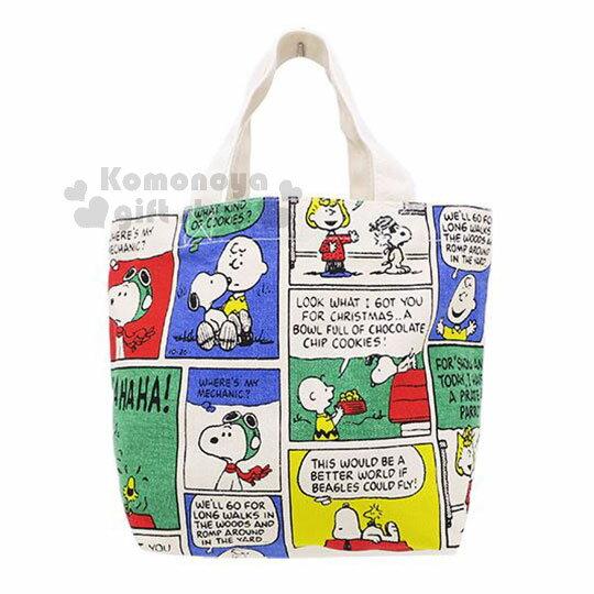 〔小禮堂〕史努比 帆布手提袋《彩色.漫畫格》便當袋.帆布袋.背袋 0